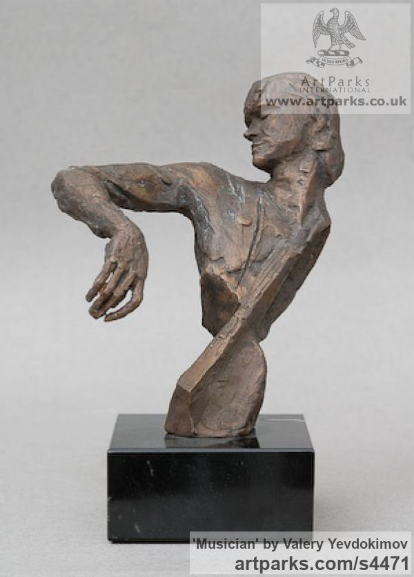 Bronze and Granite Portrait Sculptures / Commission or Bespoke or Customised sculpture by sculptor Valery Yevdokimov titled: 'Musician (Study of A. Knyazev Bronze Contemporary Bust sculpture/statue)'