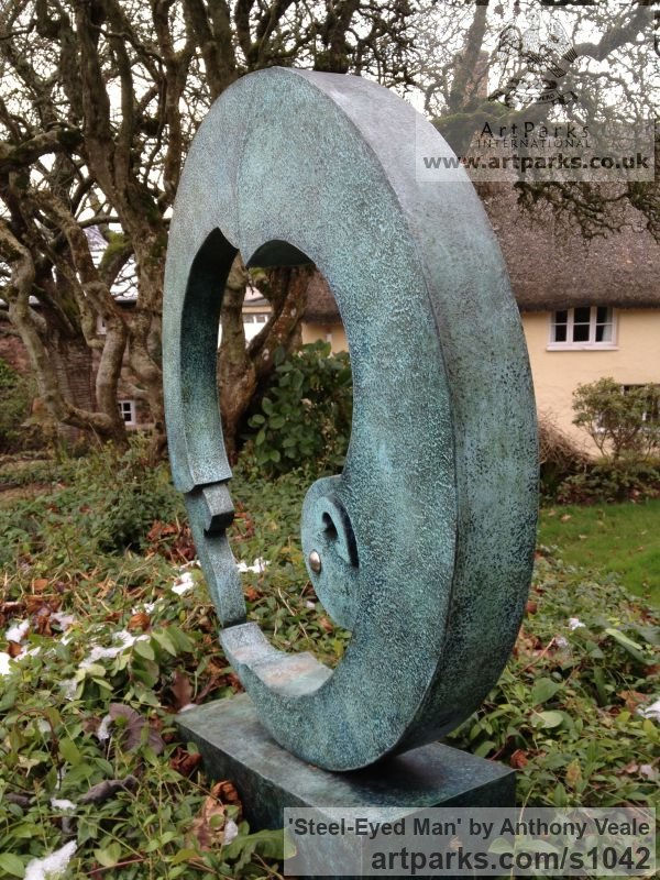 Bronze Abstract Contemporary Modern Outdoor Outside Garden / Yard sculpture statuary sculpture by sculptor Anthony Veale titled: 'Steel-eyed Man (Modern Bronze Contemporary abstract garden Yard statue)' - Artwork View 5