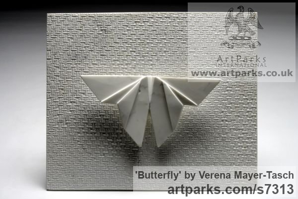 White Carrara Marble Insect Sculptures, to include Bees, Ants, Moths, Butterflies etc sculpture by sculptor Verena Mayer-Tasch titled: 'Butterfly (Contemporary abstract marble Butterfly Wall Mounted statue)'