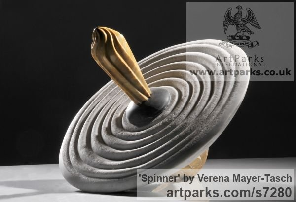 Tabletop Desktop Small Indoor Statuettes Figurines sculpture by sculptor Verena Mayer-Tasch titled: 'Spinner (Carved marble Spinning Top Fun Toy carving statuette statue)' - Artwork View 2