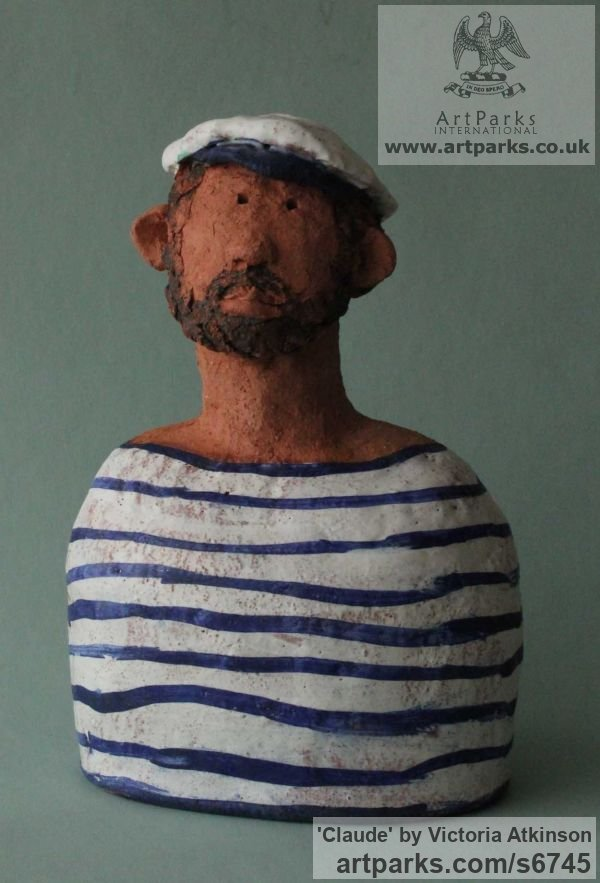 Terracotta Caricature sculpture statuettes sculpture by sculptor Victoria Atkinson titled: 'Claude (Small/Little Sailor/Matelot/Fisherman statue/Bust/sculpture)' - Artwork View 1