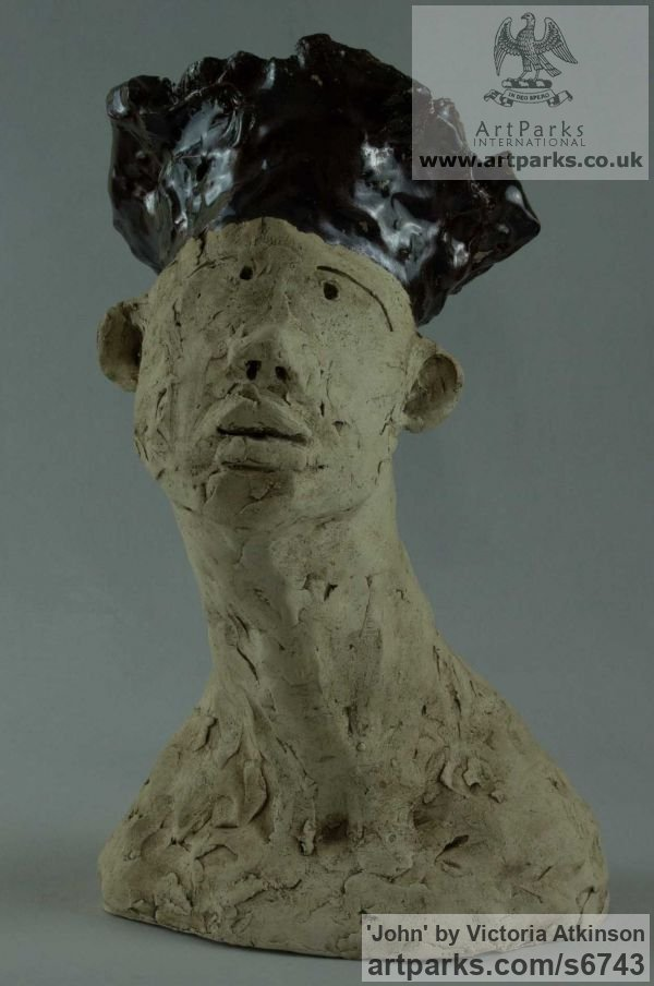 Ceramic Indoor figurative sculpture by sculptor Victoria Atkinson titled: 'John (ceramic/Terra Cotta Mans Head/Bust sculpture/statue)'