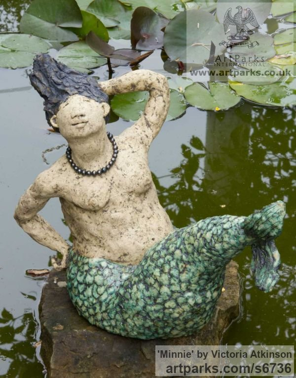 Stoneware ceramic Garden Or Yard / Outside and Outdoor sculpture by sculptor Victoria Atkinson titled: 'Minnie (ceramic/stone ware Amusing Mermaid garden/Yard statue)'