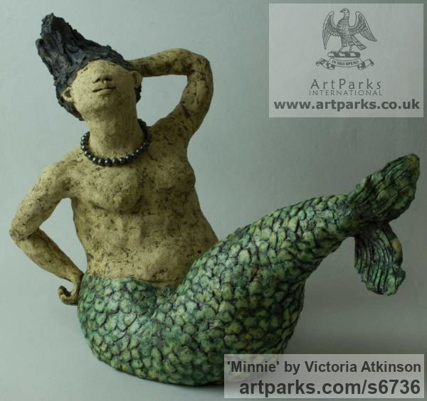 Stoneware ceramic Garden Or Yard / Outside and Outdoor sculpture by sculptor Victoria Atkinson titled: 'Minnie (ceramic/stone ware Amusing Mermaid garden/Yard statue)' - Artwork View 2