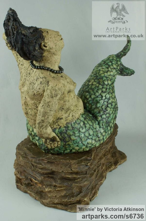 Stoneware ceramic Garden Or Yard / Outside and Outdoor sculpture by sculptor Victoria Atkinson titled: 'Minnie (ceramic/stone ware Amusing Mermaid garden/Yard statue)' - Artwork View 4