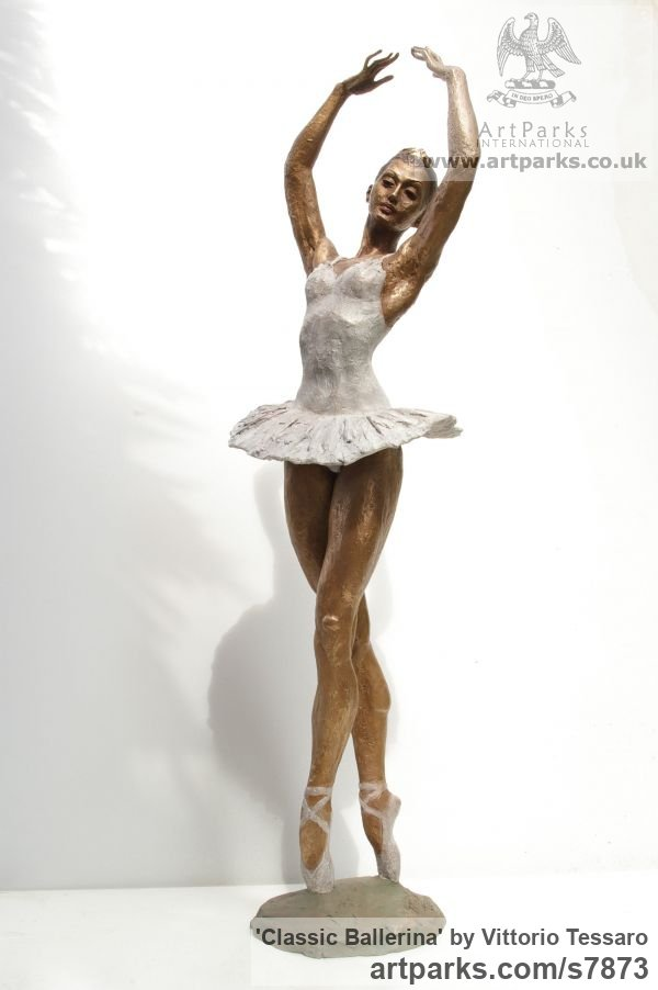 Bronze Females Women Girls Ladies sculpture statuettes figurines sculpture by sculptor Vittorio Tessaro titled: 'Classic Ballerina (Pirouetting Ballet Dancer statue)' - Artwork View 1