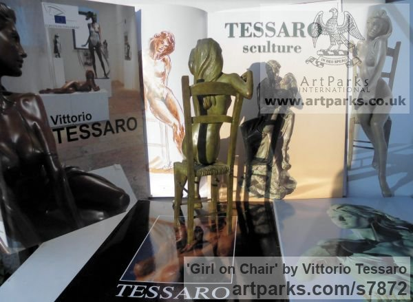 Bronze Females Women Girls Ladies sculpture statuettes figurines sculpture by sculptor Vittorio Tessaro titled: 'Girl on Chair (nude Little Girl Lady statuettes)' - Artwork View 3
