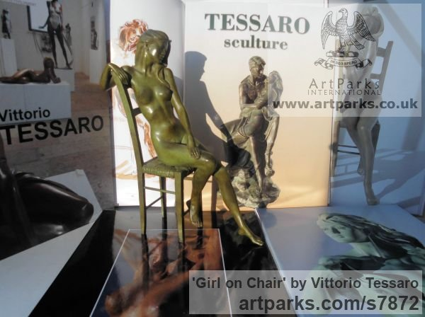 Bronze Females Women Girls Ladies sculpture statuettes figurines sculpture by sculptor Vittorio Tessaro titled: 'Girl on Chair (nude Little Girl Lady statuettes)' - Artwork View 4