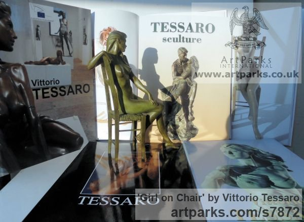 Bronze Females Women Girls Ladies sculpture statuettes figurines sculpture by sculptor Vittorio Tessaro titled: 'Girl on Chair (nude Little Girl Lady statuettes)' - Artwork View 5