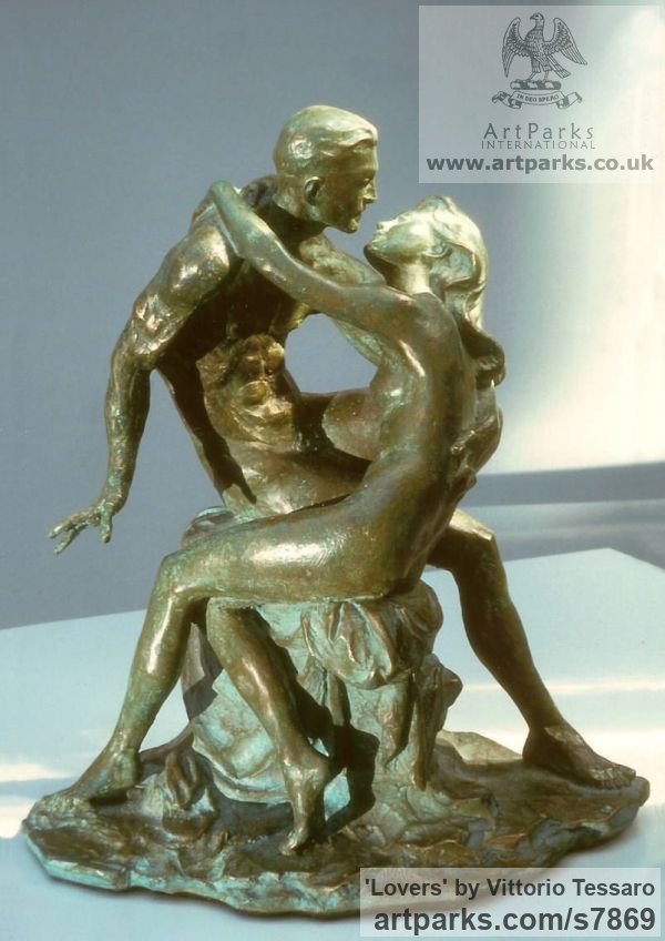 Bronze Little Small Nude or Naked Girls Women Ladies Females sculpture statuettes Figurines sculpture by sculptor Vittorio Tessaro titled: 'Lovers (Little nude Young Lovers Embracing statue)' - Artwork View 1
