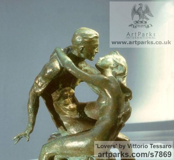 Bronze Little Small Nude or Naked Girls Women Ladies Females sculpture statuettes Figurines sculpture by sculptor Vittorio Tessaro titled: 'Lovers (Little nude Young Lovers Embracing statue)' - Artwork View 2