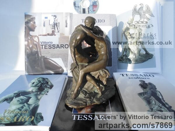 Bronze Little Small Nude or Naked Girls Women Ladies Females sculpture statuettes Figurines sculpture by sculptor Vittorio Tessaro titled: 'Lovers (Little nude Young Lovers Embracing statue)' - Artwork View 4