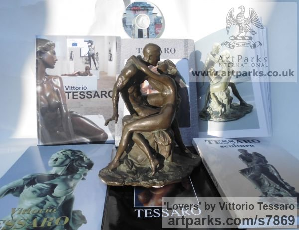 Bronze Little Small Nude or Naked Girls Women Ladies Females sculpture statuettes Figurines sculpture by sculptor Vittorio Tessaro titled: 'Lovers (Little nude Young Lovers Embracing statue)' - Artwork View 5