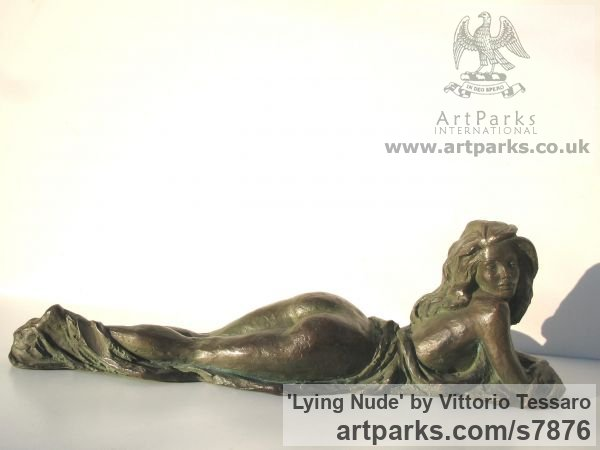 Bronze Females Women Girls Ladies sculpture statuettes figurines sculpture by sculptor Vittorio Tessaro titled: 'Lying nude (Naked Little Bronze Small Girl Young Woman statuette)'