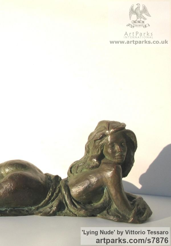 Bronze Welcome Happy Return Sanctuary Safe Haven Recption Welcome Home sculpture sculpture by sculptor Vittorio Tessaro titled: 'Lying nude (nude Small Bronze Young Woman statue)' - Artwork View 2