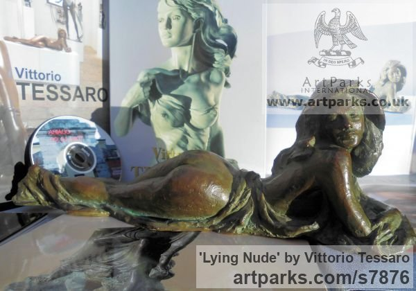 Bronze Females Women Girls Ladies sculpture statuettes figurines sculpture by sculptor Vittorio Tessaro titled: 'Lying nude (Naked Little Bronze Small Girl Young Woman statuette)' - Artwork View 3