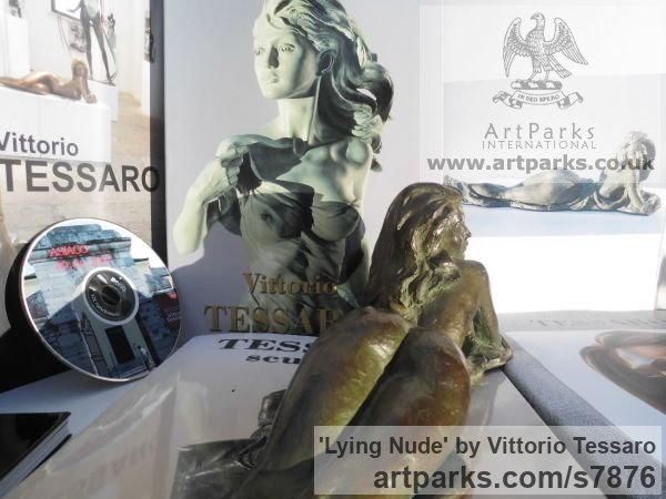 Bronze Females Women Girls Ladies sculpture statuettes figurines sculpture by sculptor Vittorio Tessaro titled: 'Lying nude (Naked Little Bronze Small Girl Young Woman statuette)' - Artwork View 5