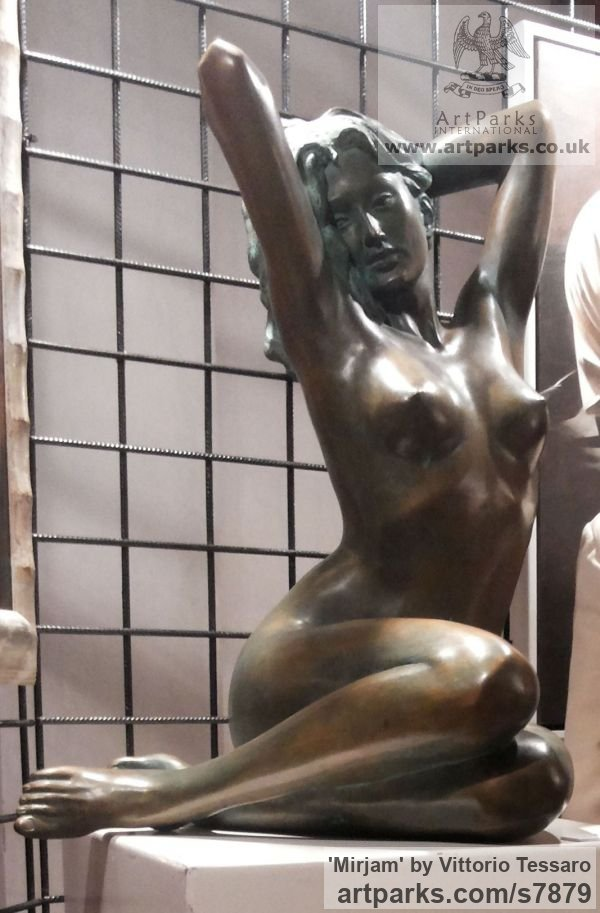 Bronze Garden Or Yard / Outside and Outdoor sculpture by sculptor Vittorio Tessaro titled: 'Mirjam (Sitting Sensuous Waking nude Girl statue)' - Artwork View 4