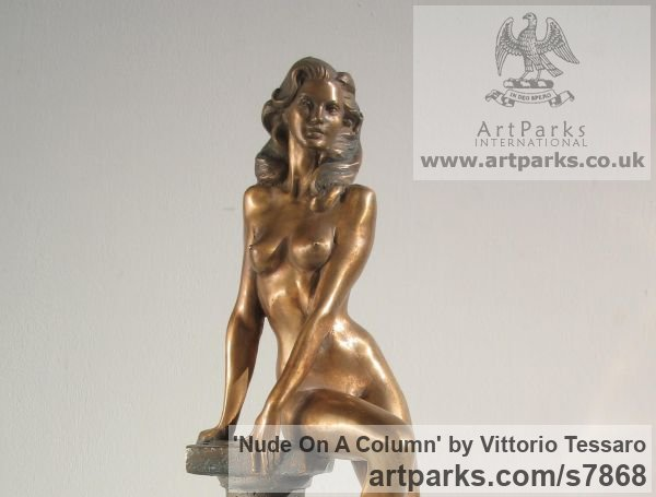 Bronze Sensuous Sexy Erotic (Nude Naked Girls Females Women Ladies) sculpture by sculptor Vittorio Tessaro titled: 'nude on Column (Naked Sitting Girl female statue)' - Artwork View 2