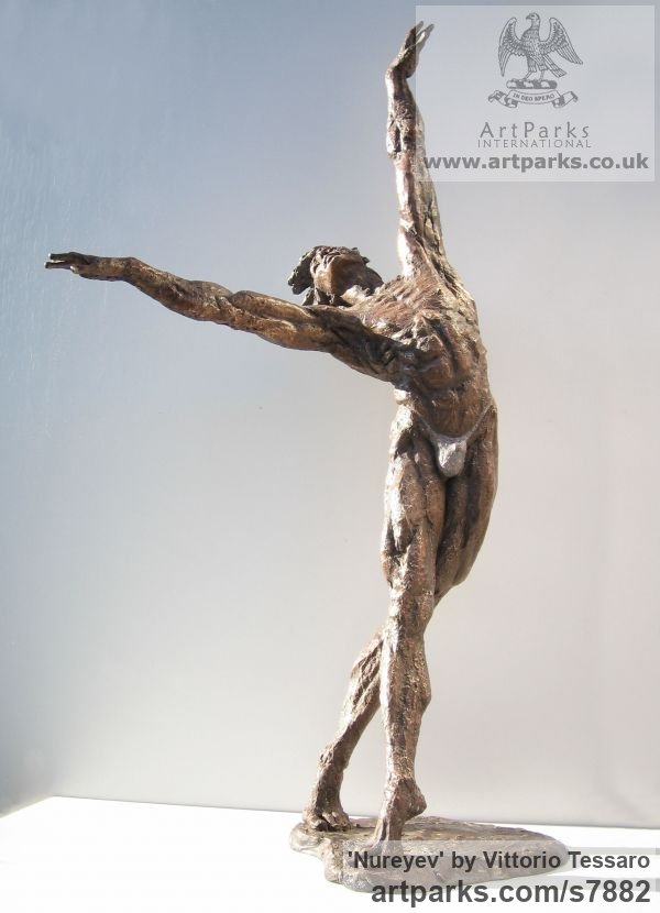 Bronze Portrait Sculptures / Commission or Bespoke or Customised sculpture by sculptor Vittorio Tessaro titled: 'Nureyev (Little bronze Male Ballet Dancer sculpture statuettes)' - Artwork View 1