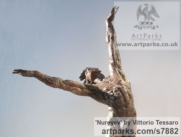 Bronze Portrait Sculptures / Commission or Bespoke or Customised sculpture by sculptor Vittorio Tessaro titled: 'Nureyev (Little bronze Male Ballet Dancer sculpture statuettes)' - Artwork View 2