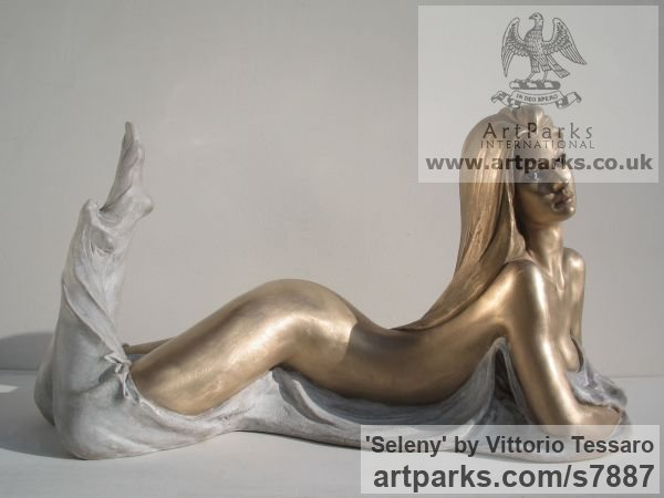 Bronze Sensuous Sexy Erotic (Nude Naked Girls Females Women Ladies) sculpture by sculptor Vittorio Tessaro titled: 'Seleny (Little nude Naked Lying Young Girl statue)' - Artwork View 1