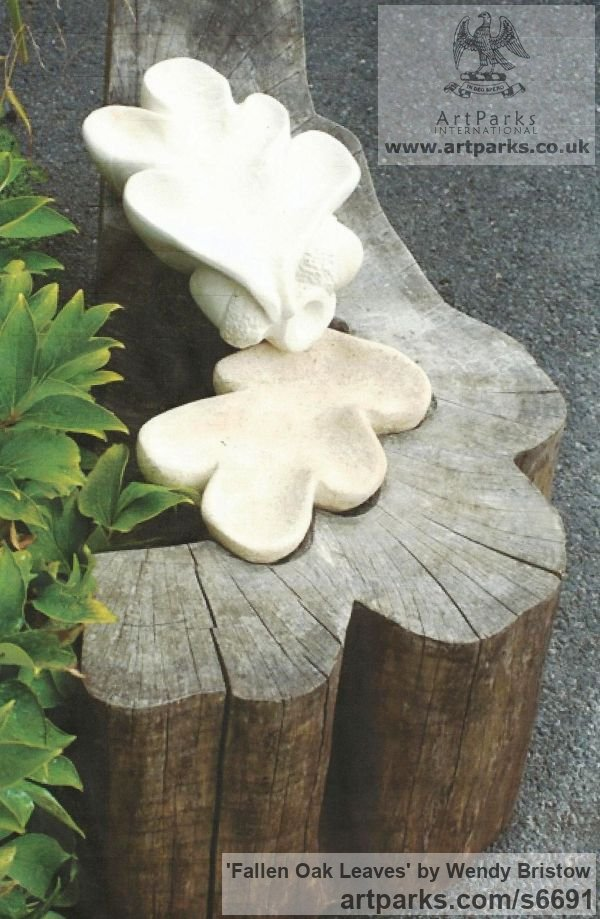 French Limestone, Bath Stone Garden Or Yard / Outside and Outdoor sculpture by sculptor Wendy Bristow titled: 'Fallen Oak Leaves (Carved stone Giant foliage garden statue)' - Artwork View 1