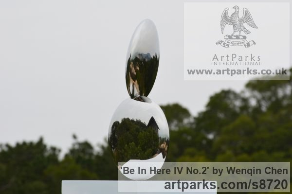 Stainless Steel Abstract Contemporary or Modern Outdoor Outside Exterior Garden / Yard sculpture statuary sculpture by sculptor Wenqin Chen titled: 'Be In Here IV No 2' - Artwork View 2