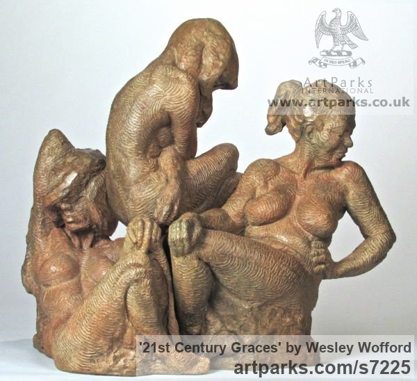 Bronze Females Women Girls Ladies sculpture statuettes figurines sculpture by sculptor Wesley Wofford titled: '21st Century Graces (Small Three nude Bronze Girl`s statue)' - Artwork View 5
