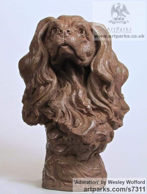 Bronze Dogs sculpture by sculptor Wesley Wofford titled: 'Adoration (Bronze Cavalier King Charles Dog Head Bust sculpturette)' - Artwork View 1