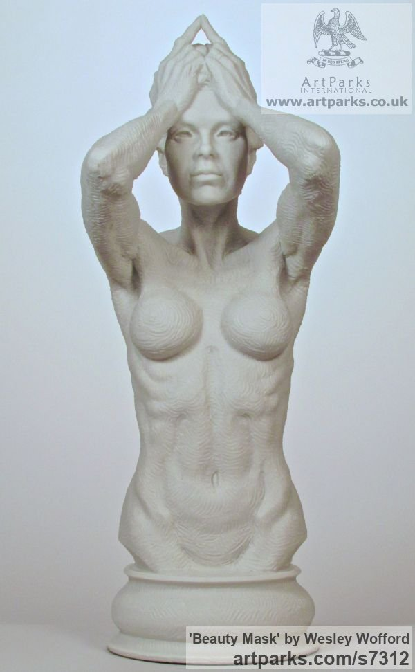 Bonded Marble (Cast Resin) Females Women Girls Ladies sculpture statuettes figurines sculpture by sculptor Wesley Wofford titled: 'Beauty Mask (nude Naked Girl Young Woman Torso life size statue)'