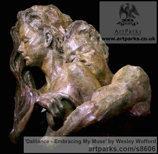 Bronze Calm Love and Affection Sculptures or sculpture by sculptor Wesley Wofford titled: 'Dalliance- Embracing My Muse (Pure Love nude statues)'