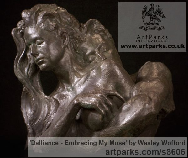 Bronze Calm Love and Affection Sculptures or sculpture by sculptor Wesley Wofford titled: 'Dalliance- Embracing My Muse (Pure Love nude statues)' - Artwork View 2