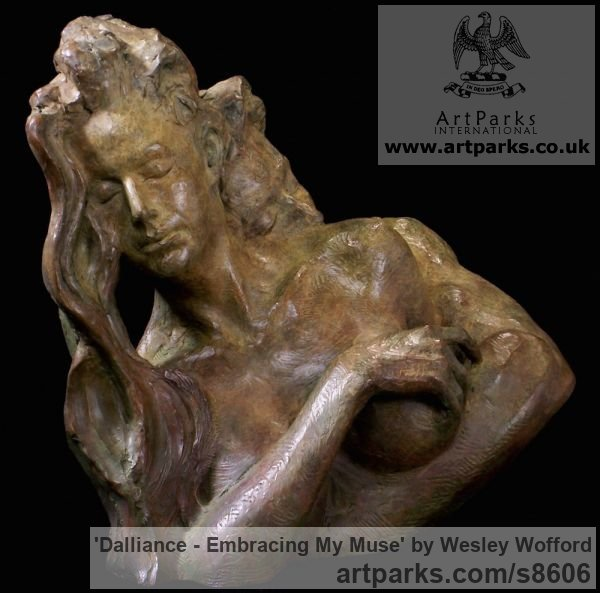 Bronze Calm Love and Affection Sculptures or sculpture by sculptor Wesley Wofford titled: 'Dalliance- Embracing My Muse (Pure Love nude statues)' - Artwork View 3