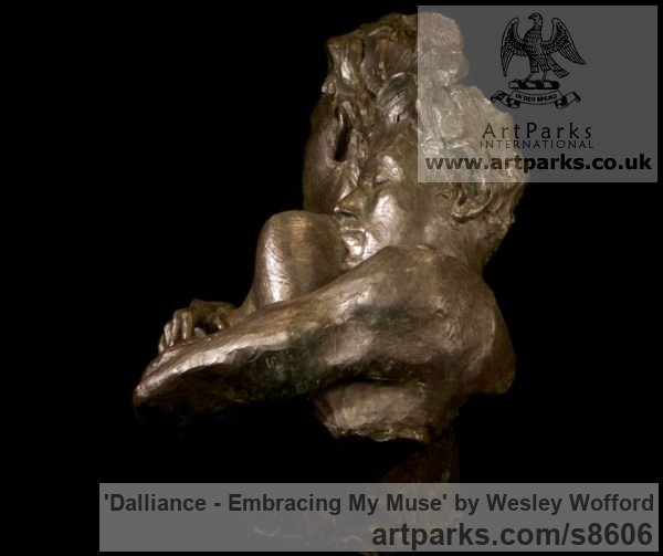 Bronze Calm Love and Affection Sculptures or sculpture by sculptor Wesley Wofford titled: 'Dalliance- Embracing My Muse (Pure Love nude statues)' - Artwork View 4