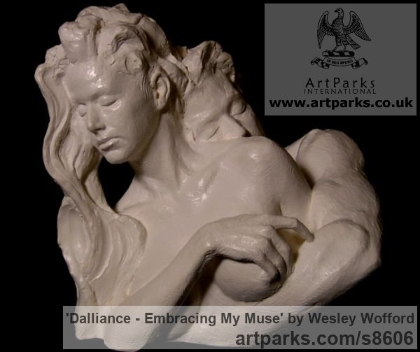 Bronze Calm Love and Affection Sculptures or sculpture by sculptor Wesley Wofford titled: 'Dalliance- Embracing My Muse (Pure Love nude statues)' - Artwork View 5