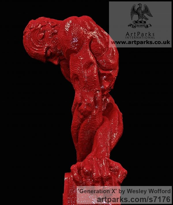 Enameled Polyester Male Men Youths Masculine sculpturettes figurines sculpture by sculptor Wesley Wofford titled: 'Generation X (Red nude Man and Technology Torso sculpture)' - Artwork View 4