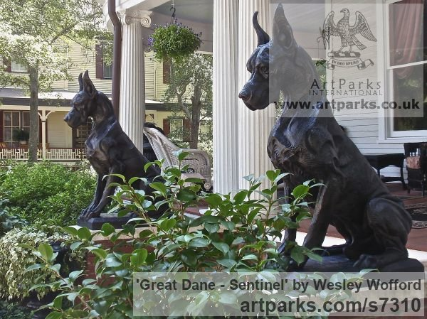 Bronze Dogs sculpture by sculptor Wesley Wofford titled: 'Great Dane- Sentinel (Big Bronze Stylised Seated Guard Dog statue)' - Artwork View 2