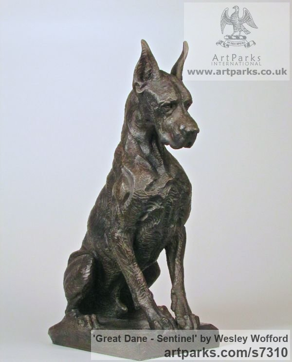 Bronze Dogs sculpture by sculptor Wesley Wofford titled: 'Great Dane- Sentinel (Big Bronze Stylised Seated Guard Dog statue)' - Artwork View 3