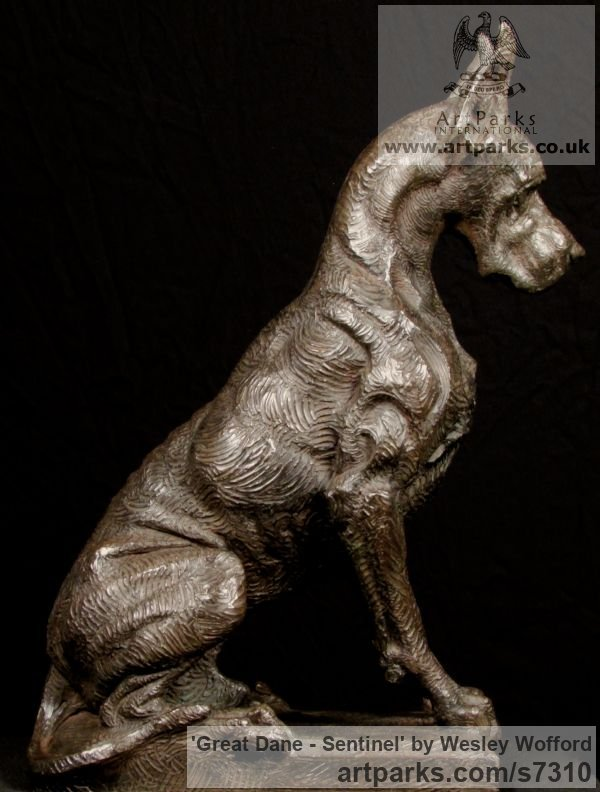 Bronze Dogs sculpture by sculptor Wesley Wofford titled: 'Great Dane- Sentinel (Big Bronze Stylised Seated Guard Dog statue)' - Artwork View 4