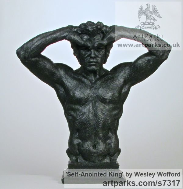 Bonded marble Proud of Pride In Self Confidence sculpture statuette sculpture by sculptor Wesley Wofford titled: 'Self-Anointed King (Bonded Black resin marble Male Torso statue)'