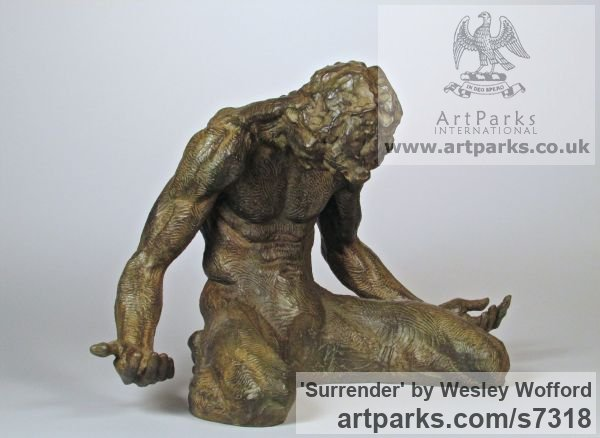 Bronze Male Men Youths Masculine sculpturettes figurines sculpture by sculptor Wesley Wofford titled: 'Surrender (Small nude Kneeling Muscular Muscley Man statuette statue)' - Artwork View 3