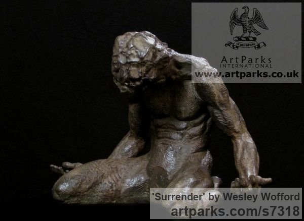 Bronze Male Men Youths Masculine sculpturettes figurines sculpture by sculptor Wesley Wofford titled: 'Surrender (Small nude Kneeling Muscular Muscley Man statuette statue)' - Artwork View 4