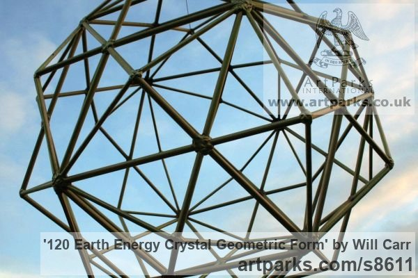 Mild Steel Abstract Contemporary Modern Outdoor Outside Garden / Yard sculpture statuary sculpture by sculptor Will Carr titled: '120 Earth Energy Crystal Geometric Form'