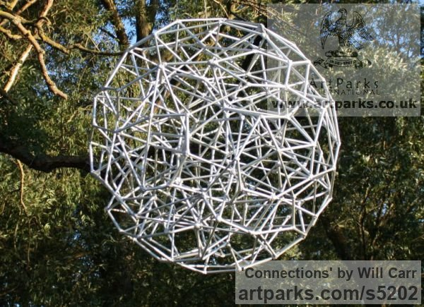Steel Garden Or Yard / Outside and Outdoor sculpture by sculptor Will Carr titled: 'Connections (Geodesic abstract Sphere Spherical statue)' - Artwork View 1