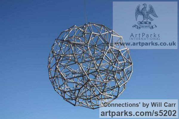 Steel Garden Or Yard / Outside and Outdoor sculpture by sculptor Will Carr titled: 'Connections (Geodesic abstract Sphere Spherical statue)' - Artwork View 2