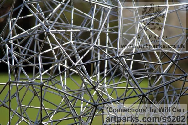 Steel Garden Or Yard / Outside and Outdoor sculpture by sculptor Will Carr titled: 'Connections (Geodesic abstract Sphere Spherical statue)' - Artwork View 3