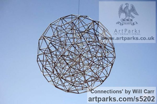 Steel Garden Or Yard / Outside and Outdoor sculpture by sculptor Will Carr titled: 'Connections (Geodesic abstract Sphere Spherical statue)' - Artwork View 4