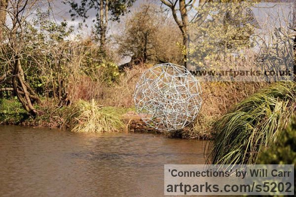 Steel Garden Or Yard / Outside and Outdoor sculpture by sculptor Will Carr titled: 'Connections (Geodesic abstract Sphere Spherical statue)' - Artwork View 5