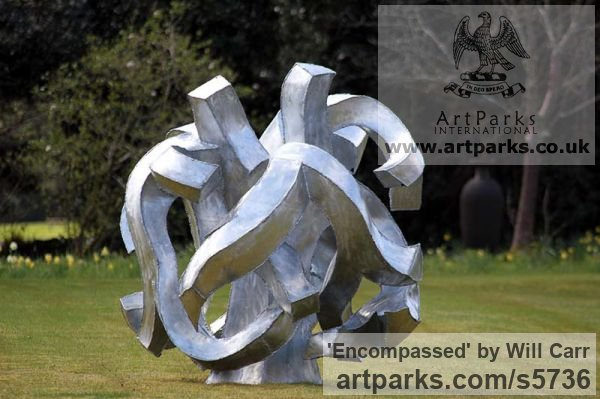 Galvanised Steel Garden Or Yard / Outside and Outdoor sculpture by sculptor Will Carr titled: 'Encompassed (Conceptual Steel Lacoan abstract Round garden/Yard)'